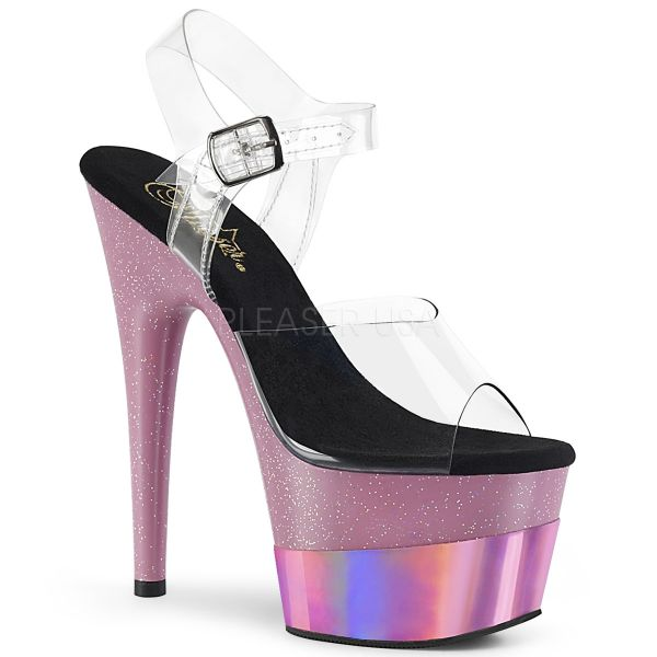 Durchsichtige Plateau Sandalette mit baby pink Glitter Hologram Plateau ADORE-708